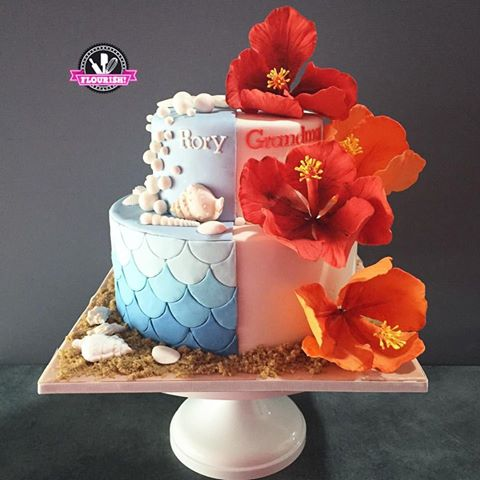 Novelty Cake 2 Tiered Seashells And Hibiscus Flowers Flourish