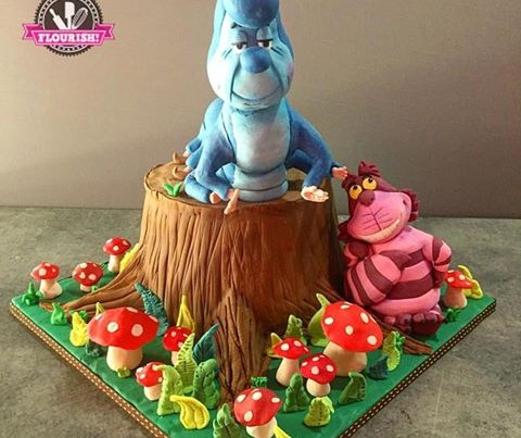 3D Cakes - Caterpillar & Chesire Cat from Alice In Wonderland