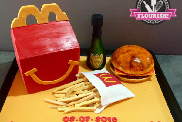 3D Cake - McDonald's Meal + Bottle of Moet Champagne